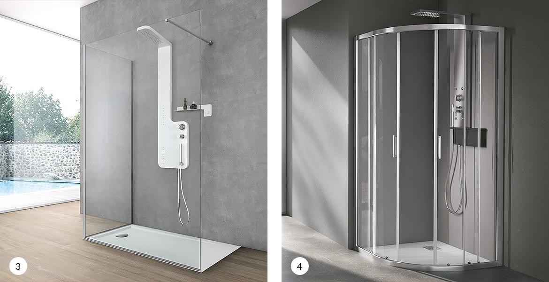 Box doccia aperto e box doccia curvo
