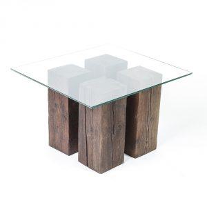 tavolo design legno ripiano in vetro