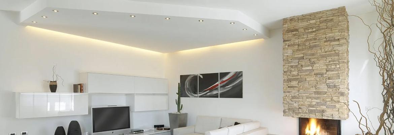 soffitto in cartongesso bianco con luci
