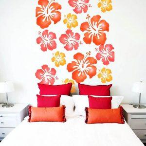 abbinamento colore pareti casa interni muro camera da letto stencil