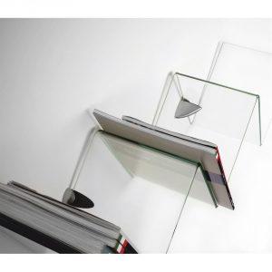 mensola vetro temperato muro zig zag