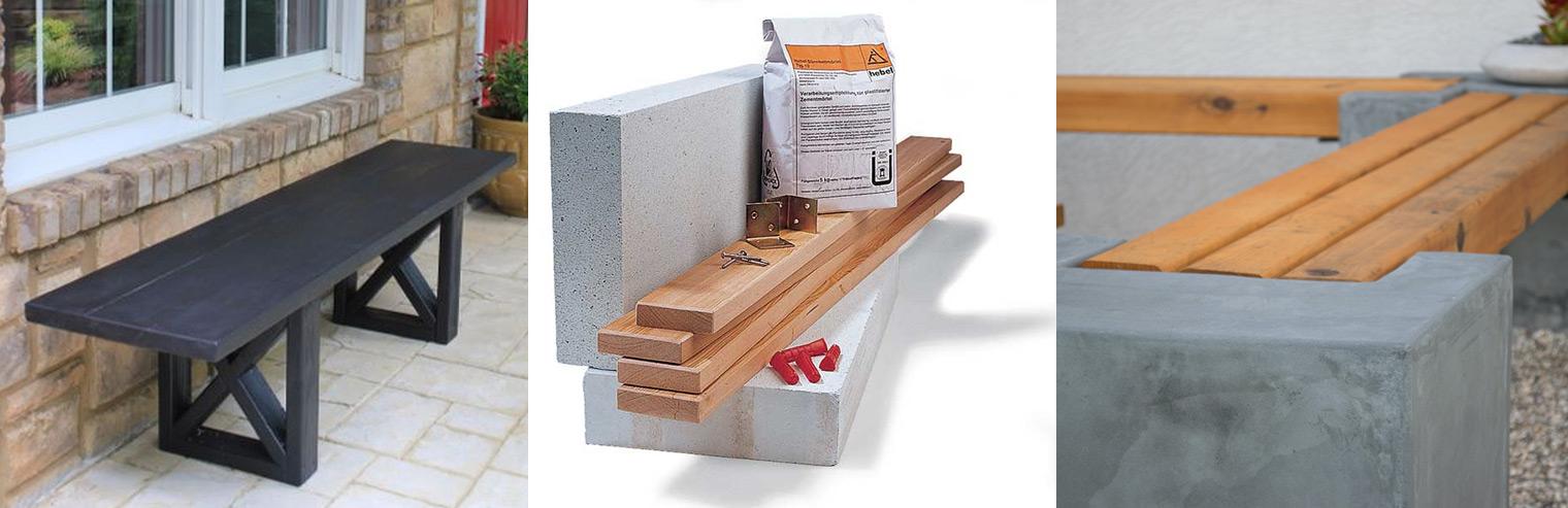 idee panchine fai da te cemento legno